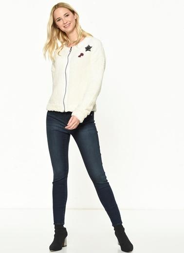 Mavi Fermuarlı Sweatshirt Beyaz